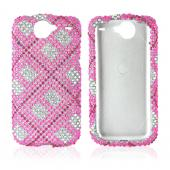 Google Nexus One Bling Hard Case - Checkered Design w/ Hot Pink, Clear, and Rose Pink on Silver