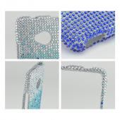 Blue/ Turquoise Waterfall on Silver Gems Bling Hard Case for HTC One