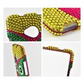 Green/ Hot Pink/ Yellow Owl Bling Hard Case for HTC One