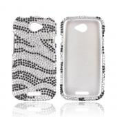 HTC One S Bling Hard Case - Black Zebra on Silver Gems