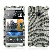 Black Zebra on Silver Gems Bling Hard Case for HTC One