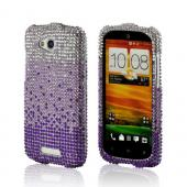Purple/ Lavender Waterfall on Silver Gems Bling Hard Case for HTC One VX