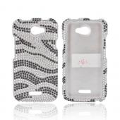 HTC One X Bling Hard Case - Black/ Silver Zebra