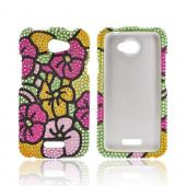 HTC One X Bling Hard Case - Green/ Hot Pink/ Yellow Hawaiian Flowers