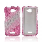 HTC One X Bling Hard Case - Pink Splash on Silver Gems