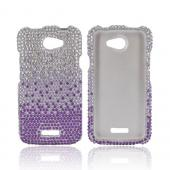 HTC One X Bling Hard Case - Purple/ Lavender Waterfall on Silver Gems