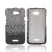 HTC One X Bling Hard Case - Silver Waterfall on Black Gems