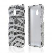 Black Zebra Gems on Silver Bling Hard Case for HTC One Mini