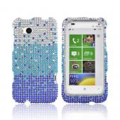 HTC Radar 4G Bling Hard Case - Blue/ Turquoise Waterfall on Silver Gems