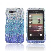 HTC Rhyme Bling Hard Case - Blue/ Turquoise Waterfall on Silver Gems