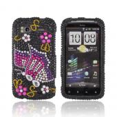 HTC Sensation 4G Bling Hard Case - Pink/ Purple Butterfly on Black Gems