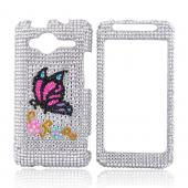 HTC EVO Shift 4G Bling Hard Case - Butterfly on Silver
