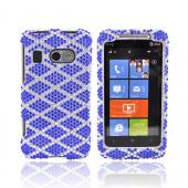 HTC Surround T8788 Bling Hard Case - Blue Argyle on Silver