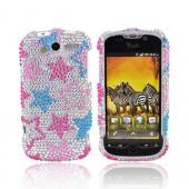 T-Mobile MyTouch 4G Bling Hard Case - Pink/Blue Stars on Silver