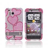 HTC Thunderbolt Bling Hard Case - Pink Hearts on Silver