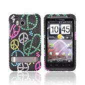 HTC Thunderbolt Bling Hard Case - Rainbow Peace Signs on Black