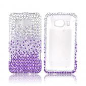 HTC Titan 2 Bling Hard Case - Purple/ Lavender Waterfall on Silver Gems