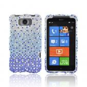 HTC Titan Bling Hard Case - Blue/ Turquoise Waterfall on Silver Gems