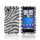 HTC Vivid Bling Hard Case - Black Zebra on Silver Gems