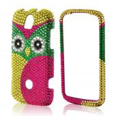 Green/ Hot Pink/ Yellow Owl Bling Hard Case for T-Mobile Huawei myTouch Q 2
