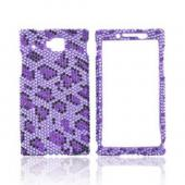 Huawei Ideos X6 Bling Hard Case - Purple/ Black Leopard on Light Purple