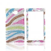 Huawei Ideos X6 Bling Hard Case - Rainbow Zebra on Silver
