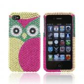 Apple iPhone 4/4S Bling Hard Case - Green/ Hot Pink Owl Design