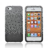 Apple iPhone 5/5S Bling Hard Case - Silver Waterfall on Black Gems
