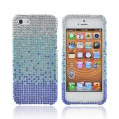 Apple iPhone 5/5S Bling Hard Case - Blue/ Turquoise Waterfall on Silver Gems