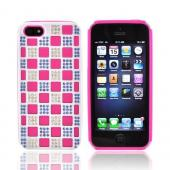 Apple iPhone 5/5S Bling Hard Cover Over Silicone Case - Hot Pink/Blue/Silver Checkered Design
