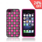 Apple iPhone 5 Bling Hard Cover Over Silicone Case - Hot Pink/ Silver Checkered Design