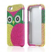 Green/ Hot Pink/ Yellow Owl Bling Hard Case for Apple iPhone 5C