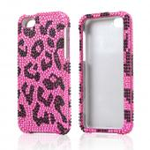 Black Leopard Gems on Pink Bling Hard Case for Apple iPhone 5C