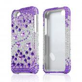 Purple Hearts on Light Purple/ Silver Bling Hard Case for Apple iPhone 5C