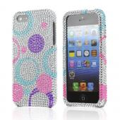Apple iPhone 5/5S Bling Hard Case - Purple/Blue/Pink Circles on Silver - XXIP5
