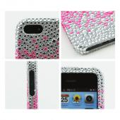 Apple iPhone 5/5S Bling Hard Case - Hot Pink Splash Gems on Silver