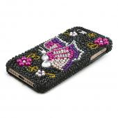 Apple iPhone 5/5S Bling Hard Case - Pink/ Purple Butterfly on Black Gems
