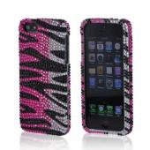 Apple iPhone 5/5S Bling Hard Case - Hot Pink/ Silver/ Black Zebra