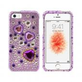 Apple iPhone 5/5S Bling Hard Case - Purple Hearts on Light Purple/ Silver Gems