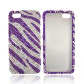 Apple iPhone 5/5S Bling Hard Case - Purple/ Silver Zebra
