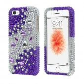 Apple iPhone 5/5S Bling Hard Case - Purple/ Silver Rhinestones - XXIP5