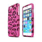 "Apple iPhone 6 Plus (5.5"") Black Leopard on Pink Bling Gems Hard Case Cover"