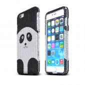 "Apple iPhone 6 Plus (5.5"") Black Panda Bear on Silver Bling Gems Hard Case Cover"