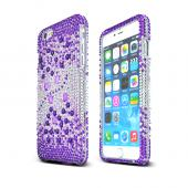 "Apple iPhone 6 Plus (5.5"") Purple Hearts on Silver Bling Gems Hard Case Cover"