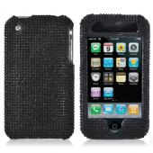 Apple iPhone 3GS 3G Bling Hard Case - Black Gems on Black