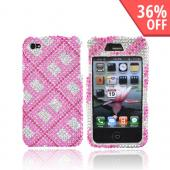Apple Verizon/ AT&T iPhone 4, iPhone 4S Bling Hard Case - Checkered Design of Pink, Rose Pink, and Clear Gems on Silver