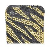 AT&T/ Verizon Apple iPhone 4, iPhone 4S Bling Hard Case - Gold/ Black Zebra