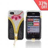 Premium Apple AT&T/ Verizon iPhone 4 Bling Hard Case - Black/ Pink/ Silver & Gold Gems w/ Gold Zipper