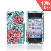 Apple Verizon/ AT&T iPhone 4, iPhone 4S Bling Back Cover Hard Case - Red Lady Bug on Green