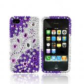 Luxmo Apple Verizon/ AT&T iPhone 4, iPhone 4S Bling Hard Case - Purple/Silver Rhinestones